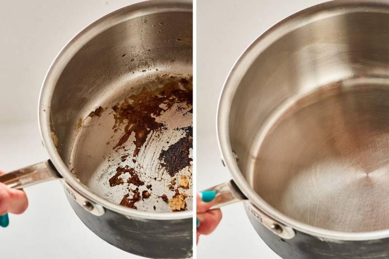 Как убрать нагар с кастрюли (алюминиевой, из нержавейки и т.д.), как удалить пригар снаружи, как очистить гарь внутри: советы и рекомендации