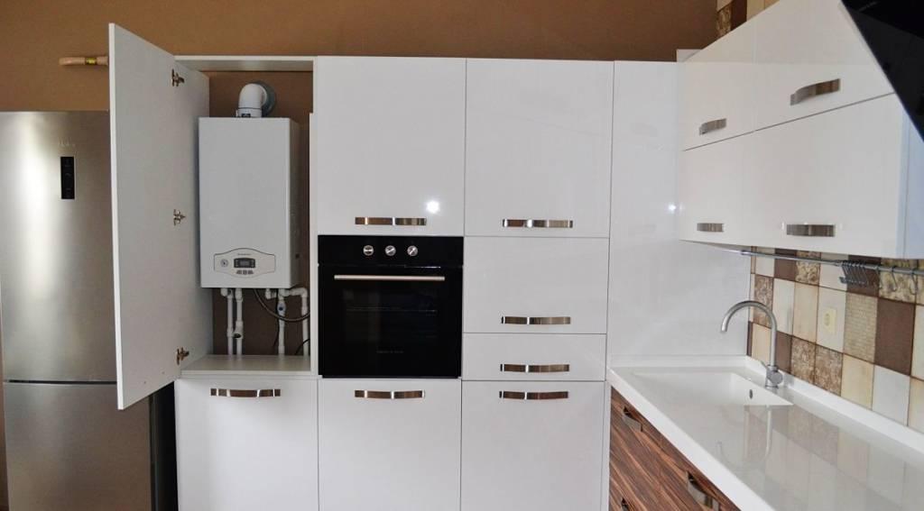 Как спрятать газовый котел на кухне — 35 фото вариантов