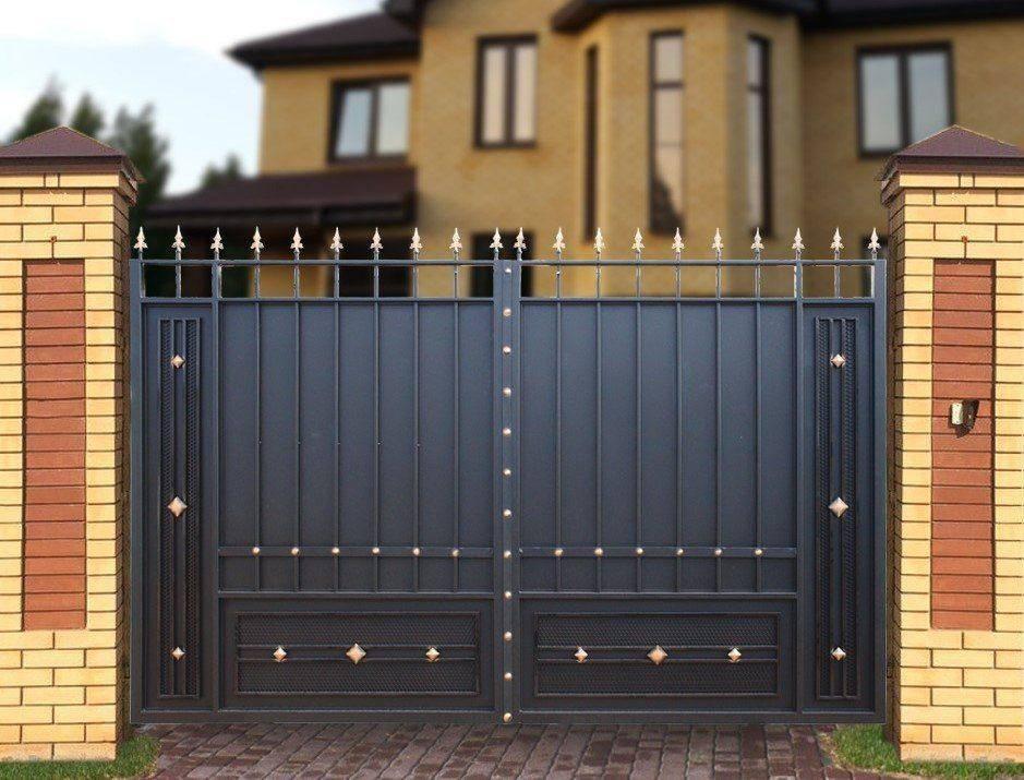 Ворота с калиткой – 115 фото применения и установки простых и стильных современных вариантов