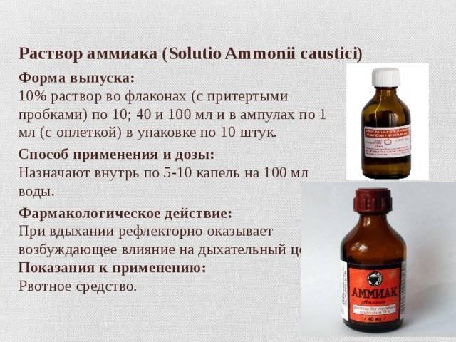 Нашатырный спирт при похмелье: действие и применение