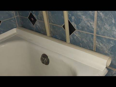 Как приклеить бордюр, ленту, керамический плинтус для ванной