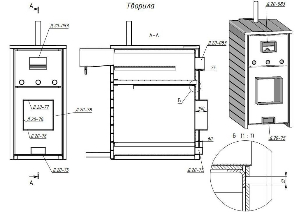 Конструкция печи длительного горения чертежи