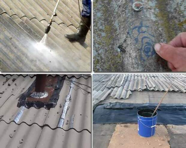 Чем замазать трещины в шифере на крыше