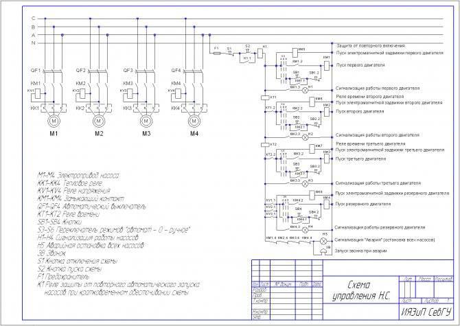 Шкаф управления насосами: схема подключения насосов к шкафу управления