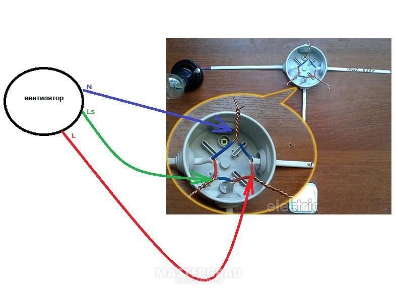 Как подключить вентилятор в ванной к выключателю: с таймером, через лампочку
