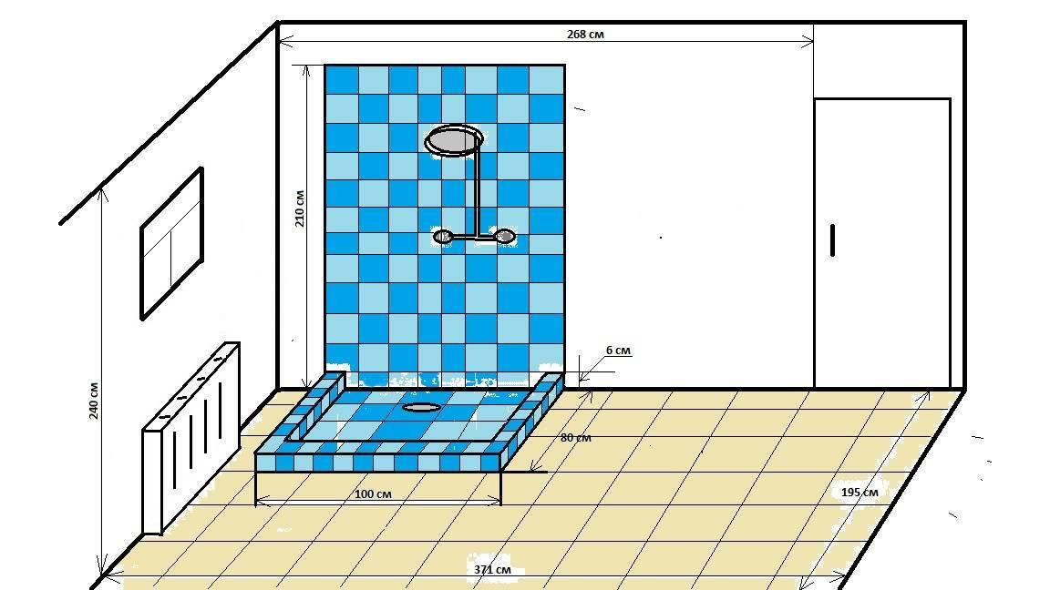 Душевой поддон в строительном исполнении