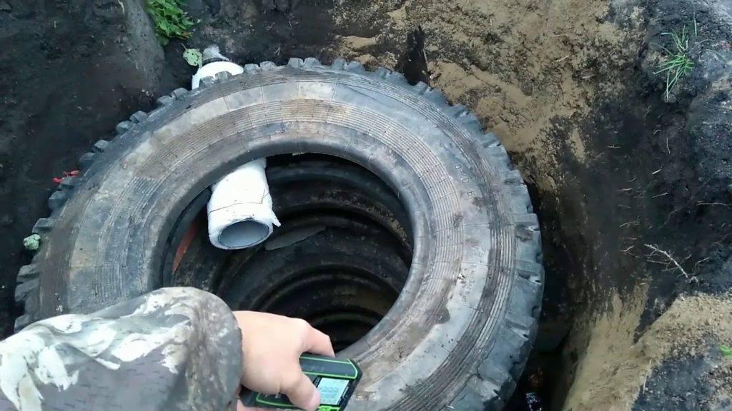 Дачная канализация из покрышек