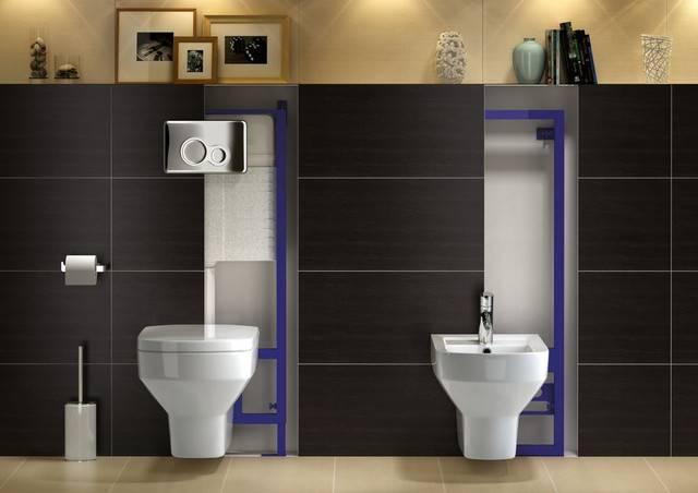 Подвесной унитаз с инсталляцией — красивое обустройство туалета