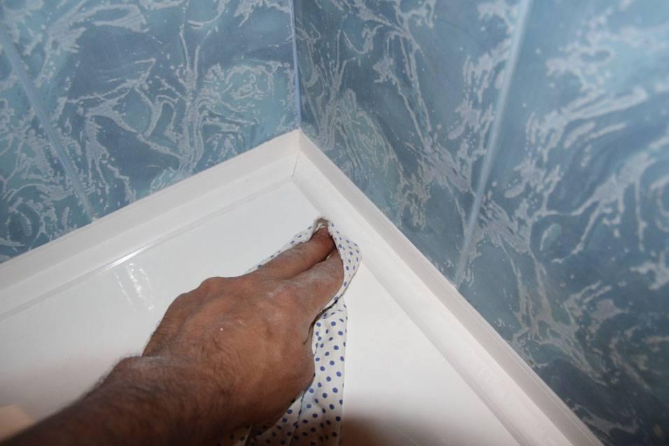 Пластиковый бордюр для ванной: инструкция + фото