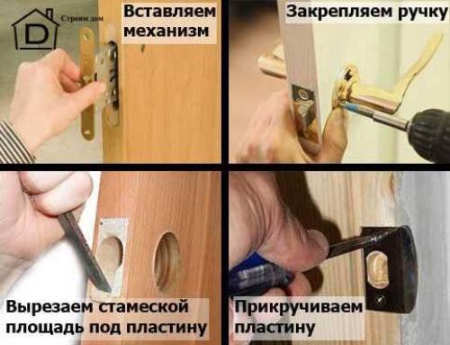 Врезка защелки в межкомнатную дверь. как самостоятельно установить в межкомнатную дверь защелку — пошаговая инструкция