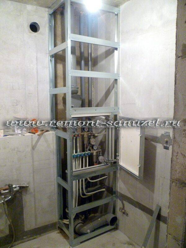 Короб в ванной для труб, дизайн популярных конструкций, обзор типовых решений и материалов, особенности монтажа - 15 фото