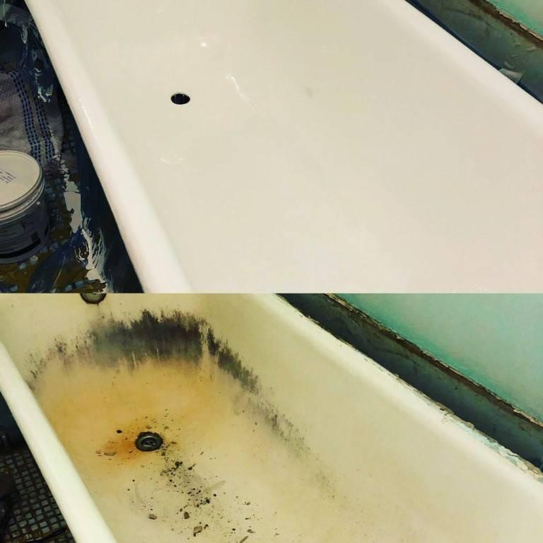 Как делают реставрацию чугунной ванной