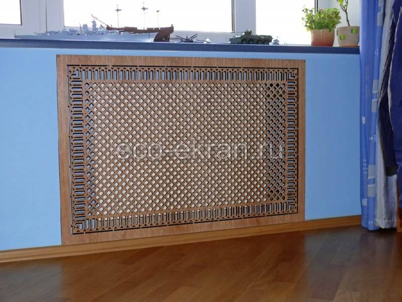 Декоративные решетки на радиаторы отопления из дерева: размеры и фото деревянных экранов для батарей