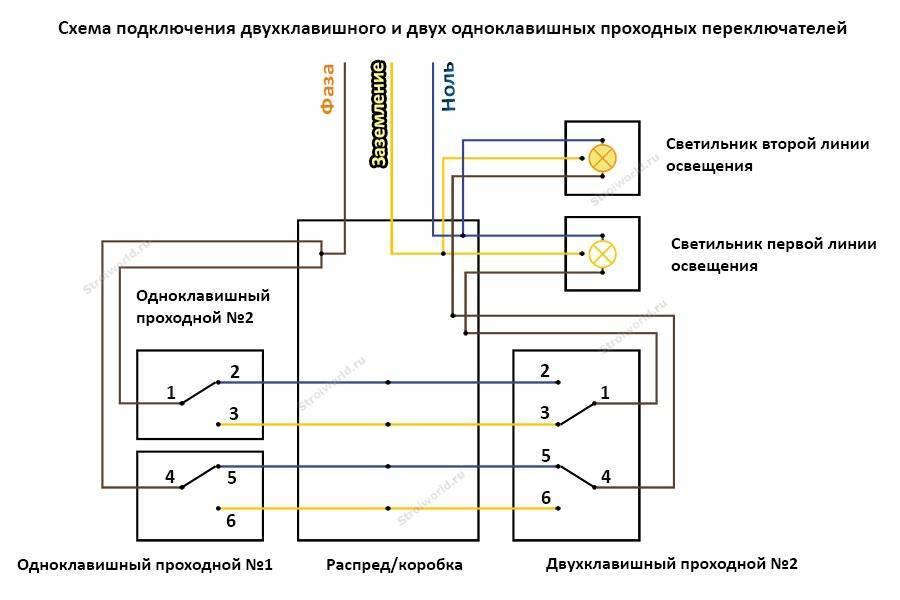 Схема подключения проходного выключателя одноклавишного: правила подключения + монтажная инструкция