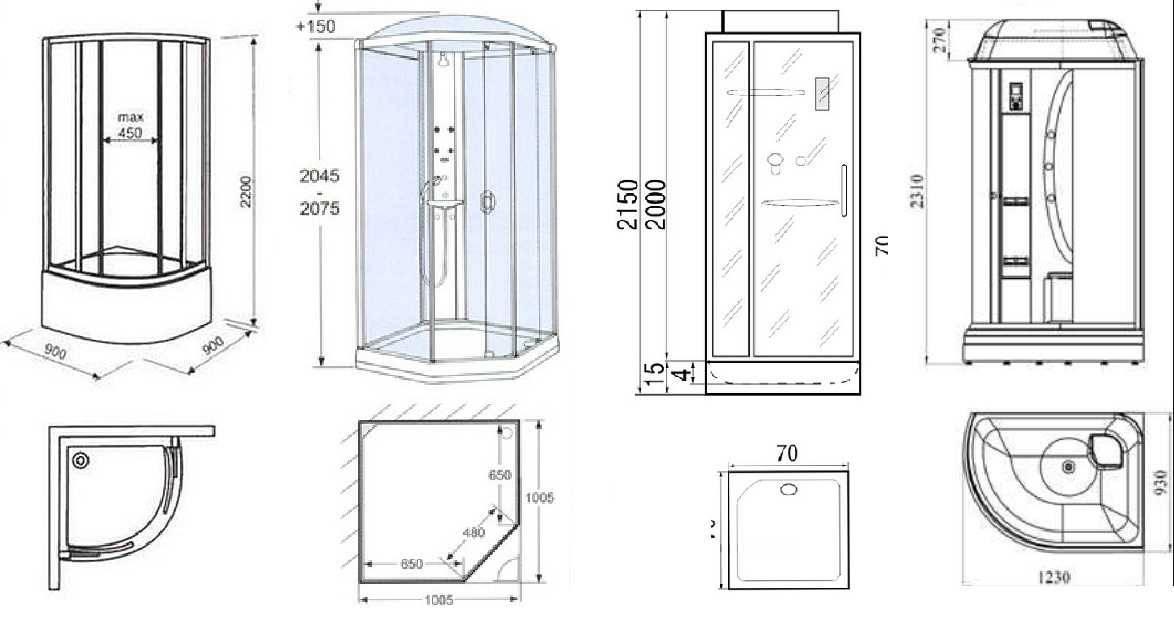 Душевая кабина: размеры, поддоны и виды дверей