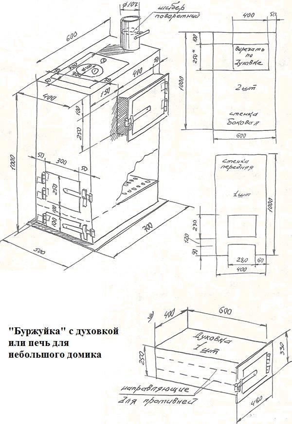 Буржуйка из кирпича своими руками: пошаговая инструкция, схема кладки, фото