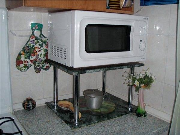 Можно ли вешать микроволновку над плитой?