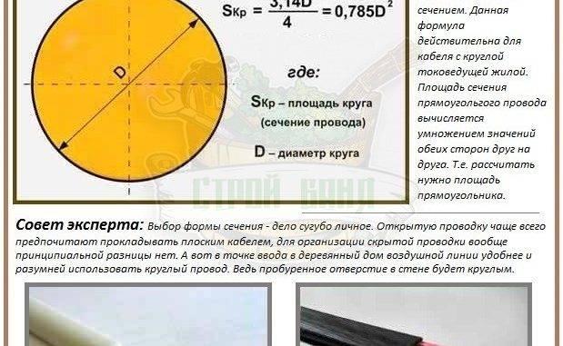 Сечение провода по его диаметру - таблица и формулы