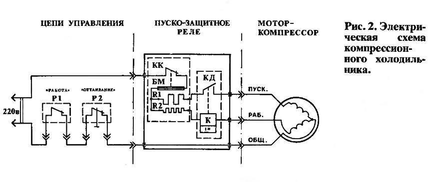 Схема реле холодильника