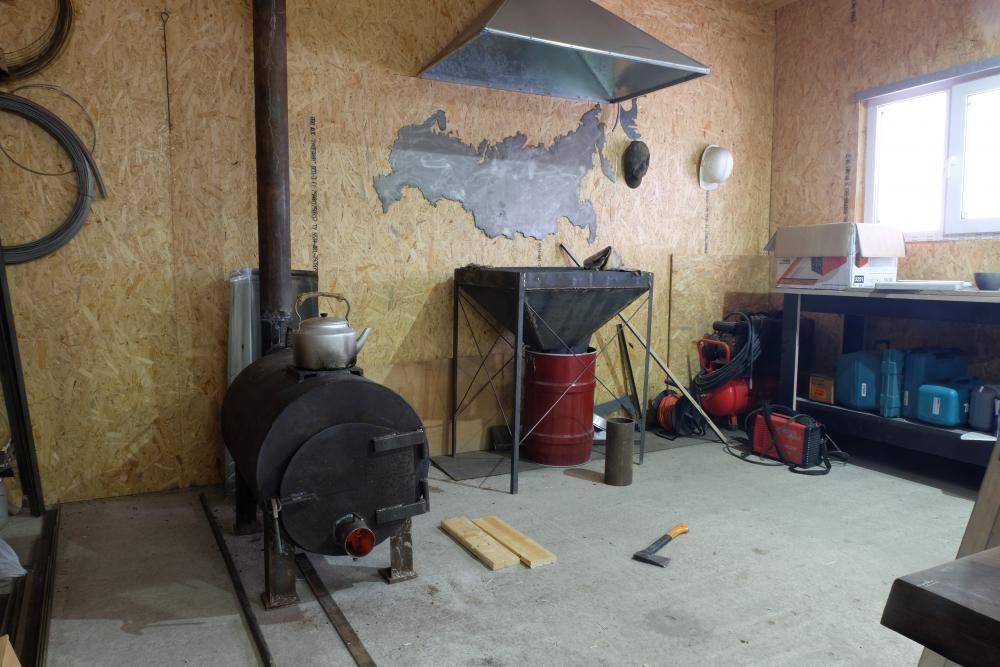 Печь для гаража своими руками - простые схемы и порядок работы