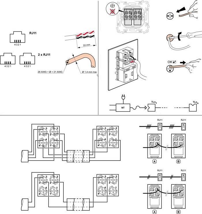 Как правильно подключить телефонную розетку – схемы монтажа