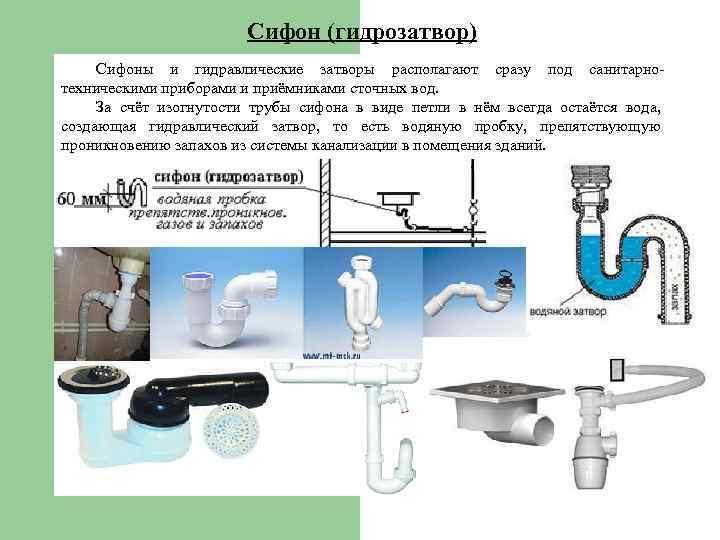 Гидрозатвор для канализации: виды, принцип работы и правила установки