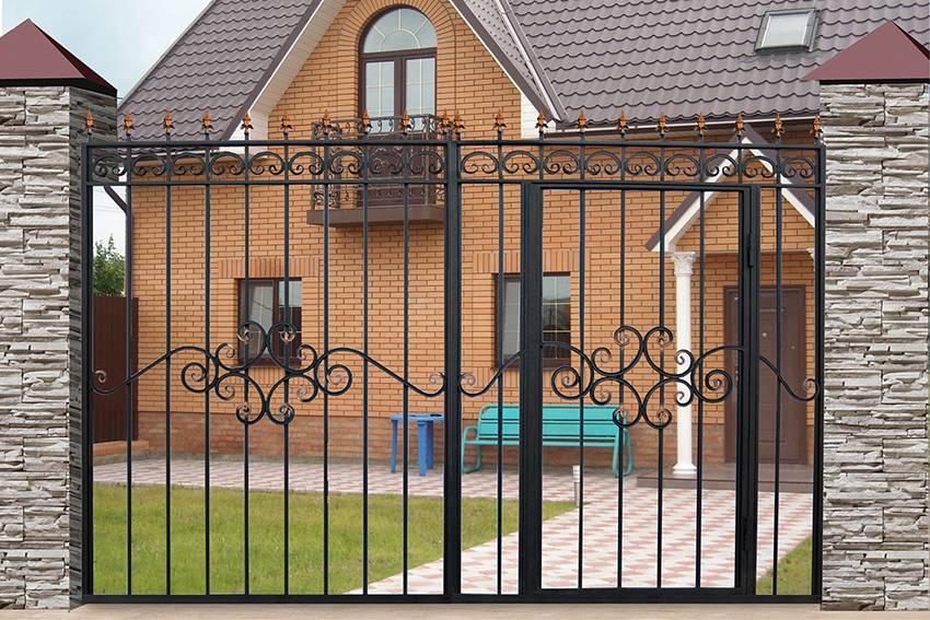 Ворота с калиткой для частного дома: разновидности и советы покупателям по выбору - малярно штукатурные работы, ремонтов фасадов, работы по благоустройству (валка, обрезка деревьев) в санкт петербурге и области