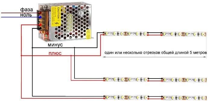 Выбор светодиодной ленты, блока питания и проводов для подключения.