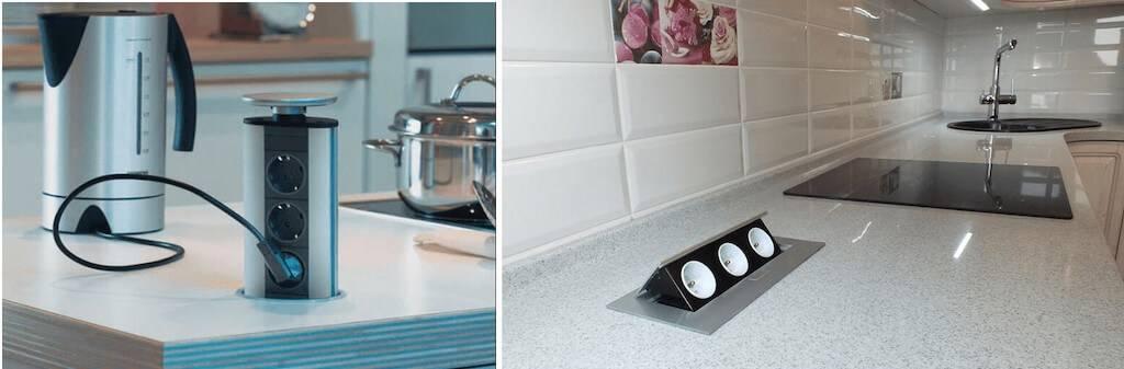 Электрические розетки на кухне: фото, типы, высота и схема расположения; угловые, выдвижные и встраиваемые розетки в столешницу
