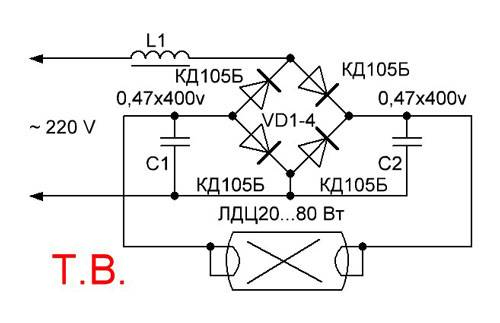 Балласт электронный: схема 2х36