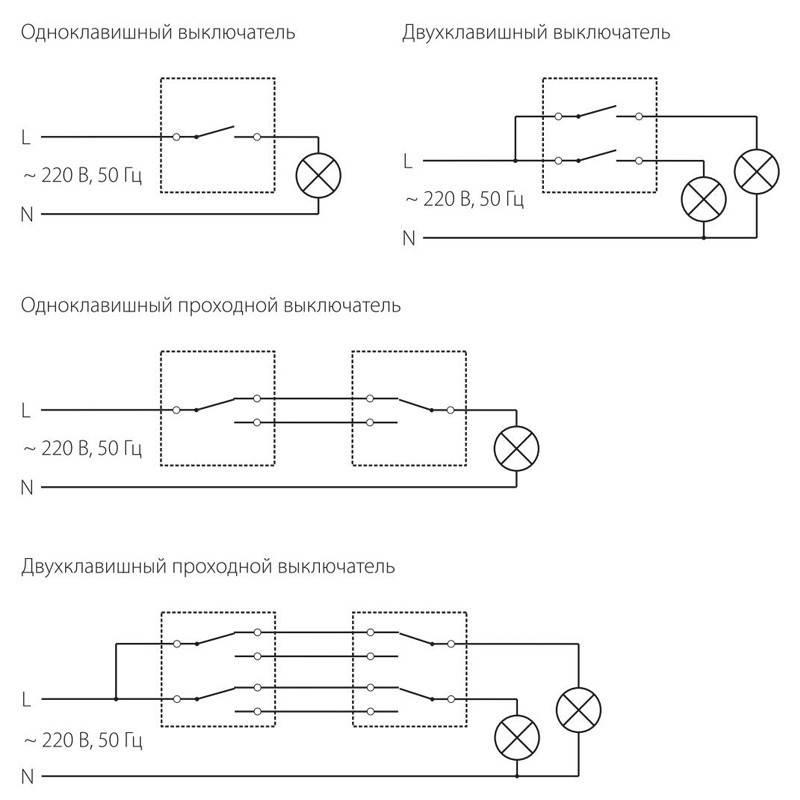 Схема подключения проходного выключателя одноклавишного: разбор схемы и порядок выполнения работ | твоя стройка