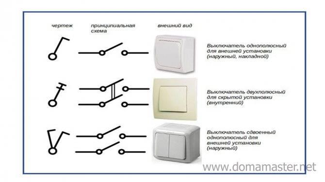 Назначение и установка двухполюсного и трехполюсного выключателя - точка j
