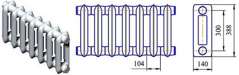 Чугунный радиатор отопления мс-140-500
