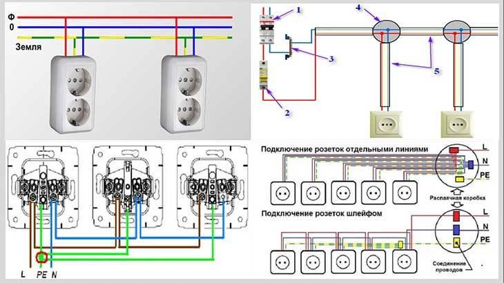 Как подключить несколько розеток от одного провода?