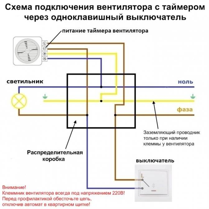 Подключение вентилятора в ванной: через выключатель, к лампочке