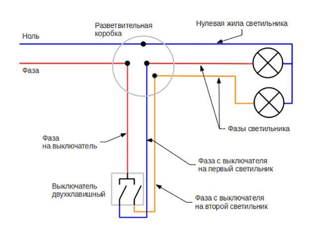 Схема подключения двухклавишного выключателя, монтаж, советы