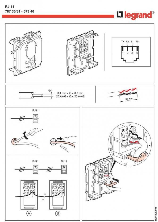 Как подсоединить телефонную розетку к проводу: схема цветов провода