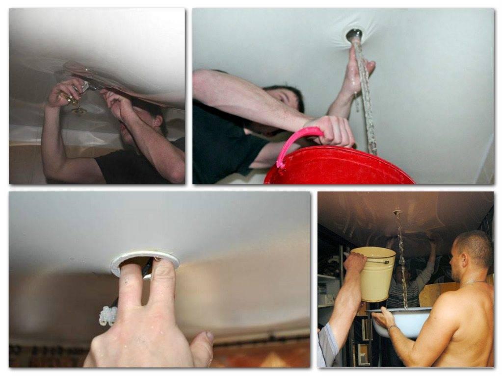 Как сделать ремонт потолка после протечки своими руками – варианты и способы