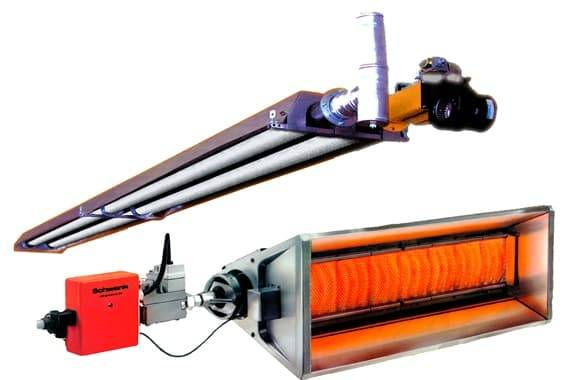 Промышленные газовые инфракрасные излучатели светлого типа