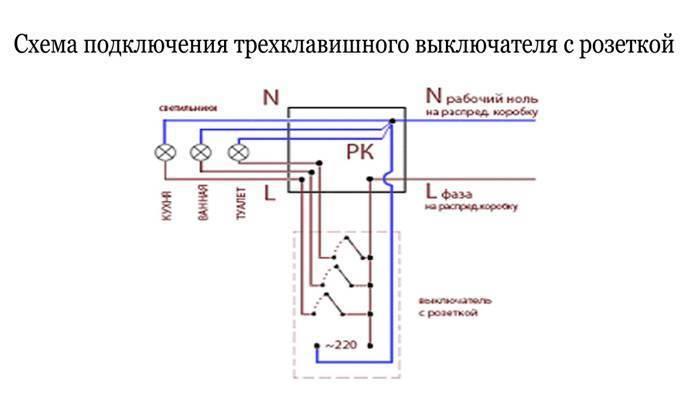 Монтаж двухклавишного выключателя света - 3 ошибки, схема, видео