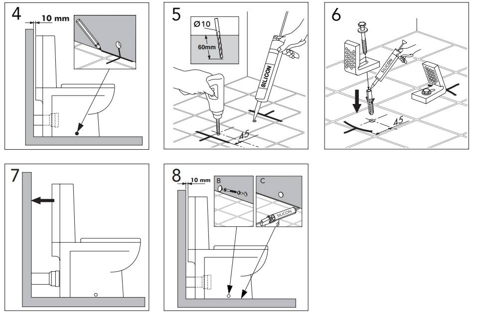 Крепление унитаза к полу - все способы с пошаговыми инструкциями!