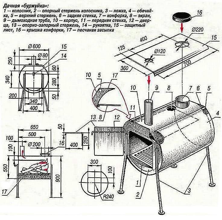 Буржуйка своими руками - 3 варианта изготовления печи с чертежами и схемами