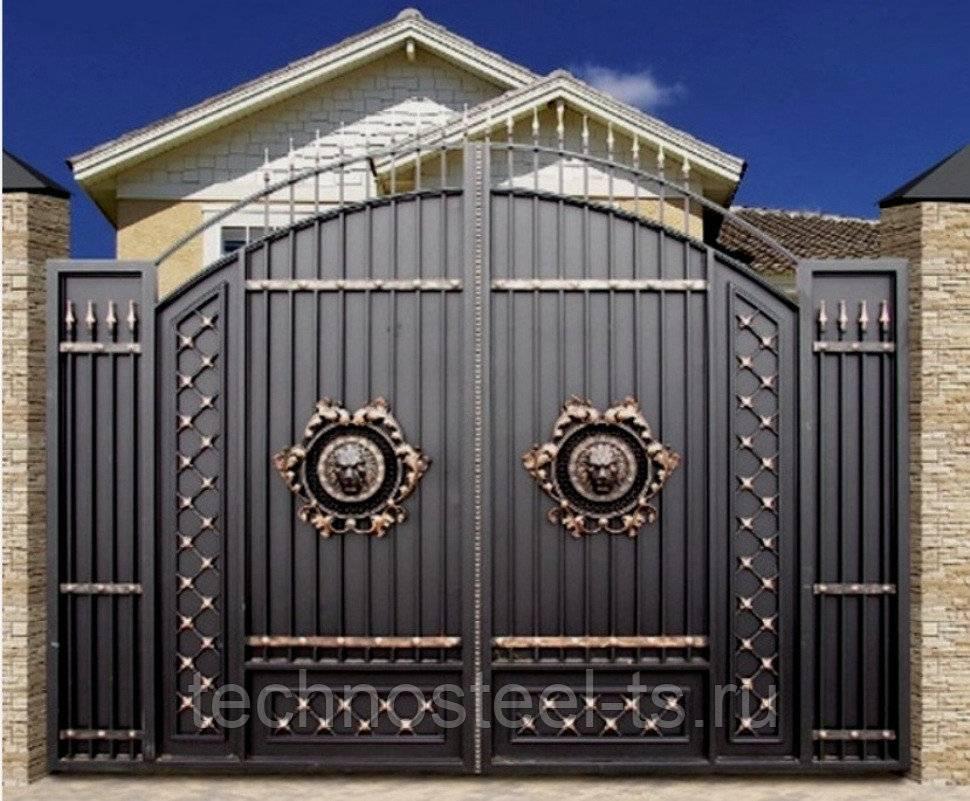 Ворота с калиткой — 115 фото применения и установки простых и стильных современных вариантов