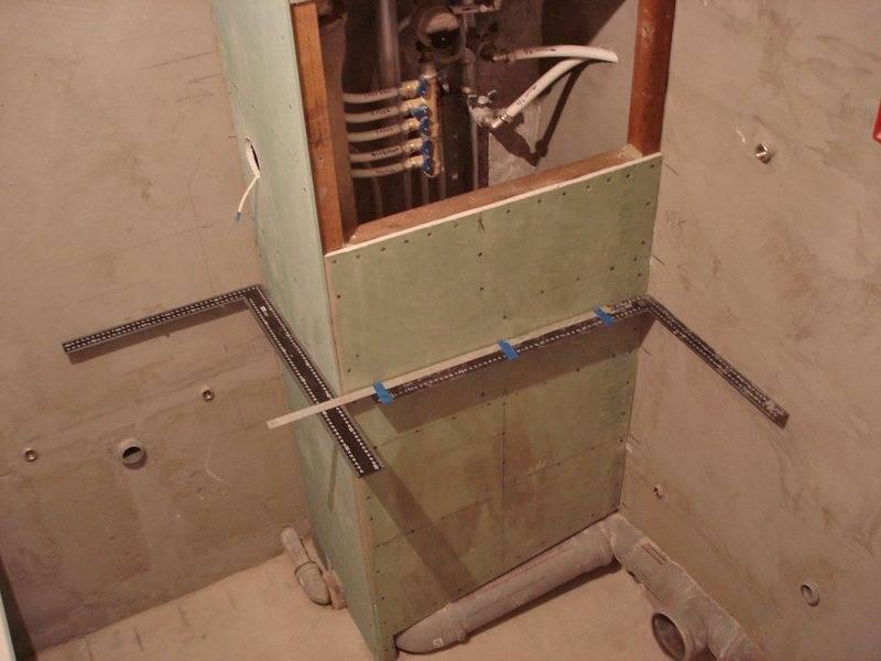 Как собрать короб из гипсокартона в туалете для труб