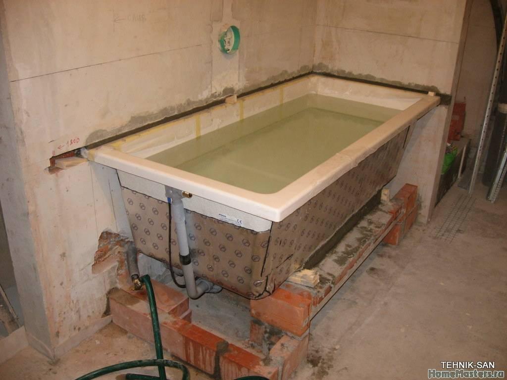 Установка акриловой ванны своими руками - на каркас, ножки, кирпичи