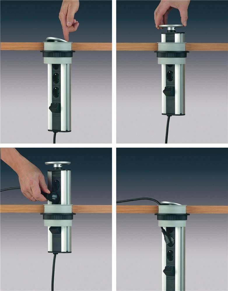 Розетка в столешницу: скрытые выдвижные и встроенные на кухню, блок-удлинитель встраиваемый в мебель
