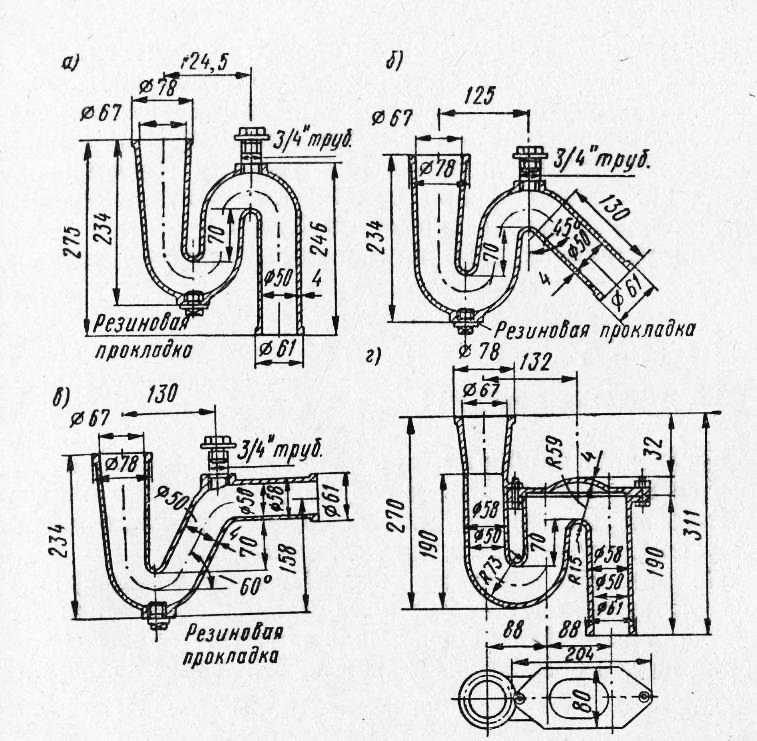 Гидрозатвор для канализации: виды, как работает, схемы установки | отделка в доме
