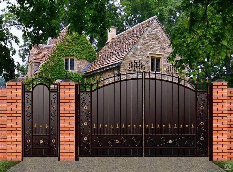 Ворота с калиткой своими руками - пошаговая инструкция от а до я (100 фото идей)