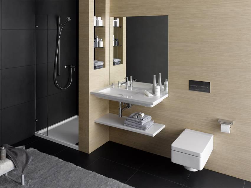 Интерьер ванной с подвесным унитазом