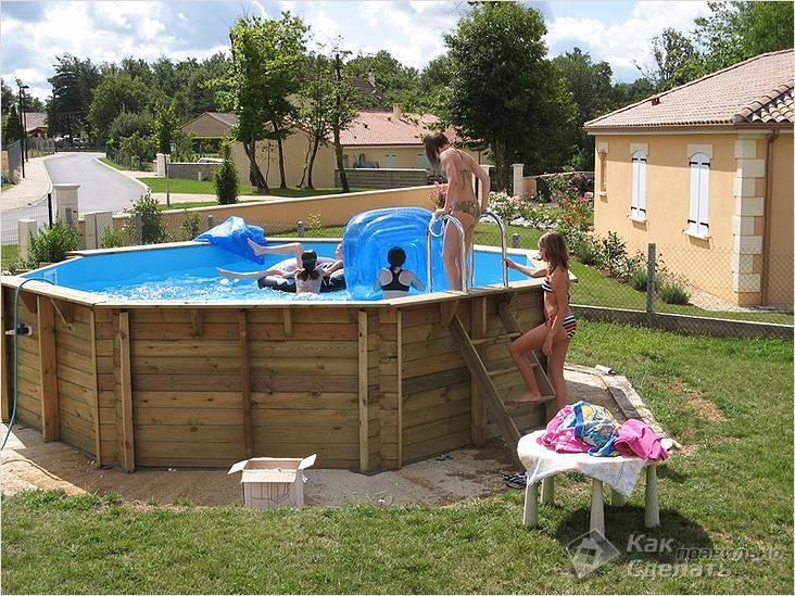 Каркас для бассейна своими руками из дерева: какие доски нужны, как сделать деревянное строение для круглого и прямоугольного своими руками?
